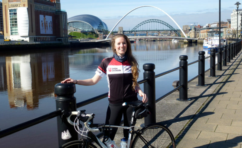 Jenni Whittaker, who is taking part in a cycling challenge across Europe to raised money for the NECCR and GNAAS